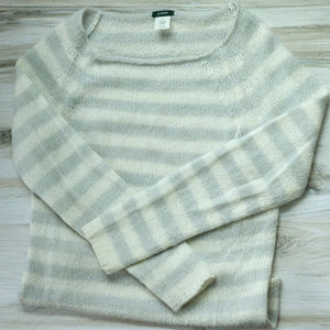 J.Crew Pullover Gray and Off-White Striped Sweater